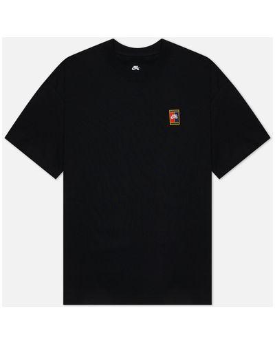 Черная хлопковая футболка Nike Sb