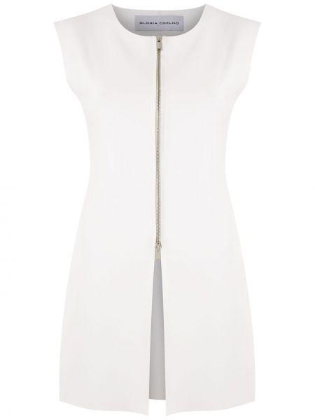 Белая блузка без рукавов с вырезом на молнии круглая Gloria Coelho