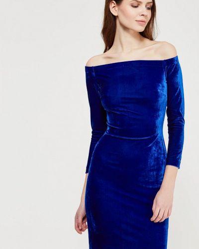 Коктейльное платье осеннее синее Ruxara