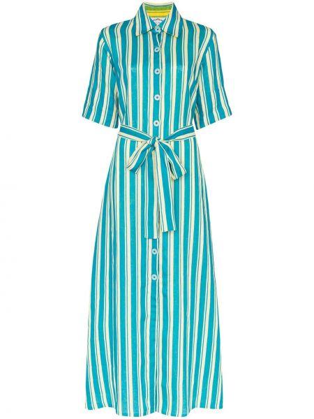 Классическое льняное платье мини с оборками на пуговицах Evi Grintela