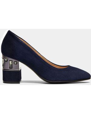 Туфли на каблуке синий велюровые Ralf Ringer