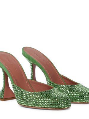 Зеленые мюли из натуральной кожи Amina Muaddi