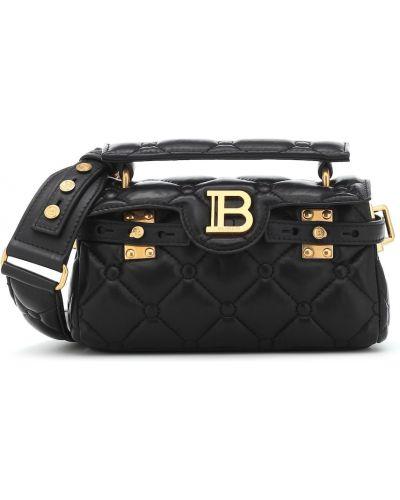 Czarny skórzana torebka z prawdziwej skóry Balmain