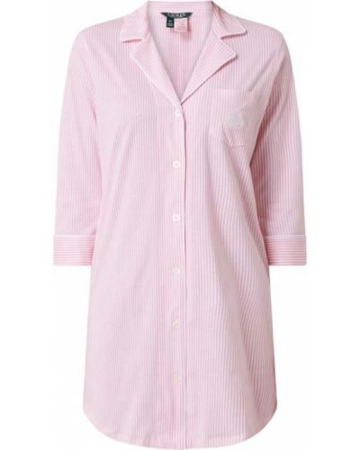 Bawełna różowy koszula nocna na paskach z kołnierzem Lauren Ralph Lauren