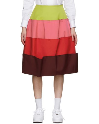 Розовая шерстяная юбка с карманами Comme Des Garçons