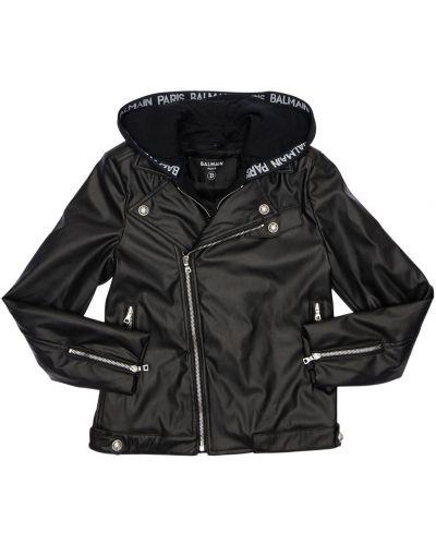 Кожаная куртка на молнии с капюшоном Balmain