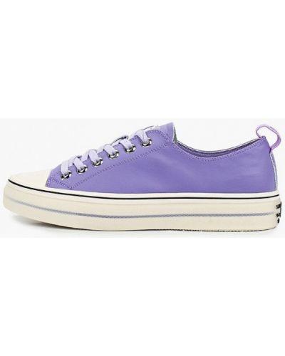 Фиолетовые кожаные низкие кеды Sprincway