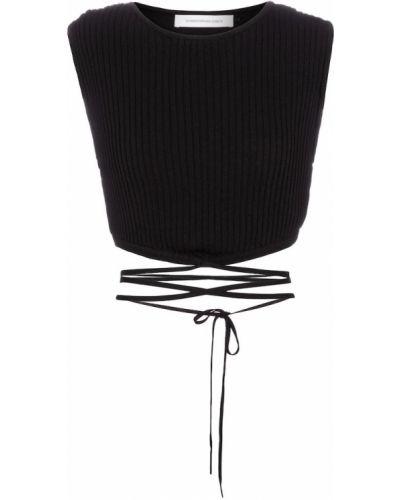 Черный кроп-топ из вискозы Christopher Esber