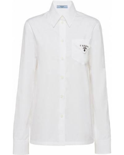 Белый хлопковый топ Prada