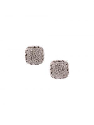 Серебряные классические серебряные серьги квадратные с бриллиантом John Hardy