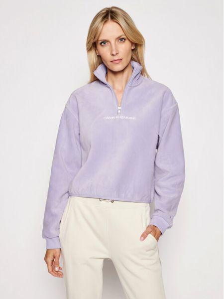 Fioletowy polar polarowy Calvin Klein Jeans