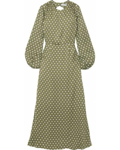 Satynowa zielona sukienka długa zapinane na guziki Racil