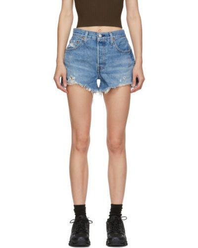 Кожаные серебряные джинсовые шорты с карманами с заплатками Levi's®