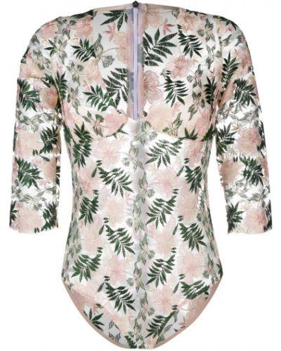 Розовое с рукавами боди на молнии Gilda & Pearl