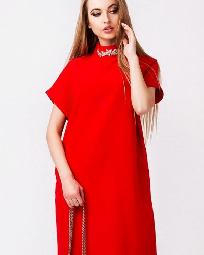 Красное платье осеннее Leo Pride