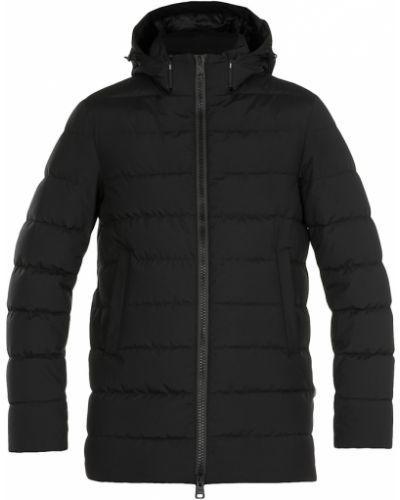 Czarny długi płaszcz z kapturem z długimi rękawami Herno