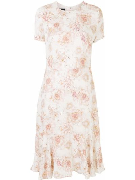 Шелковое платье миди с вырезом с короткими рукавами трапеция Escada