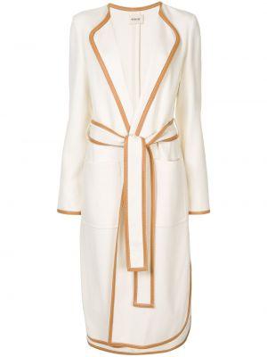 Хлопковое белое пальто классическое с лацканами Khaite