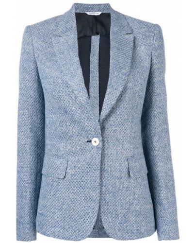 Приталенный синий удлиненный пиджак на пуговицах Tonello