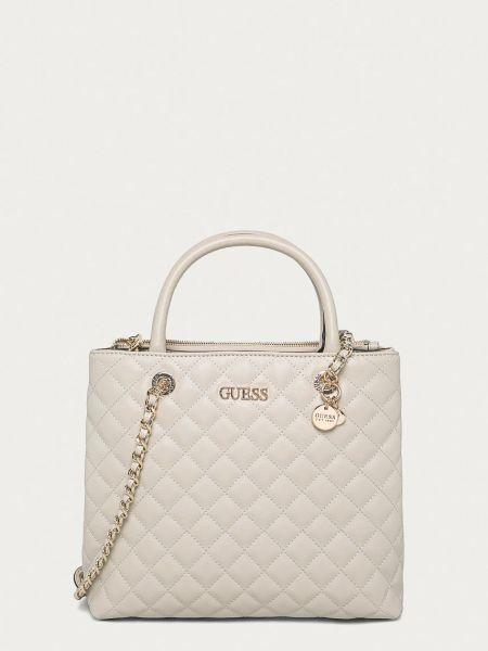 Хлопковая серая сумка на руку с подкладкой Guess
