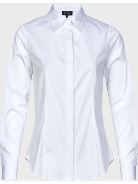 Хлопковая белая рубашка на пуговицах Luisa Spagnoli