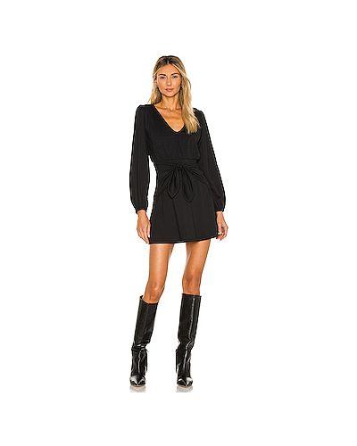Трикотажное с рукавами черное платье мини с поясом Susana Monaco