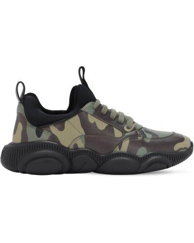 Koronkowa sneakersy zasznurować z prawdziwej skóry Moschino