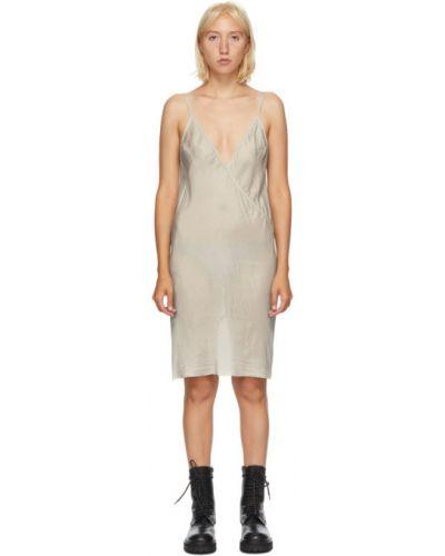 Z paskiem satyna sukienka mini z dekoltem w szpic bez rękawów Rick Owens