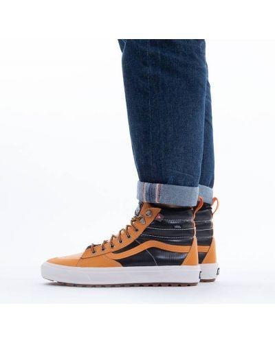Оранжевые кожаные кеды Vans