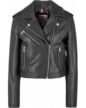 Кожаная куртка на молнии укороченная Tommy Hilfiger