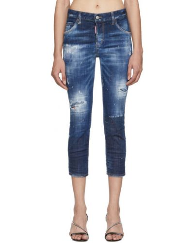 Skórzany srebro jeansy do kostek z łatami z paskiem Dsquared2