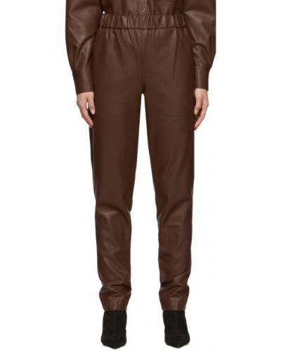 Кожаные коричневые брюки с карманами Tibi