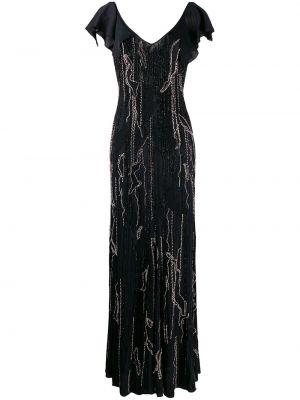 Шелковое вечернее платье с V-образным вырезом на молнии с камнями Amen.