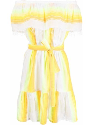 Открытое белое платье мини с короткими рукавами Lemlem