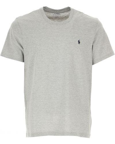 Szary t-shirt bawełniany krótki rękaw Ralph Lauren