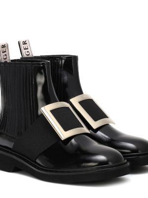 Ботинки челси черные золотой Roger Vivier