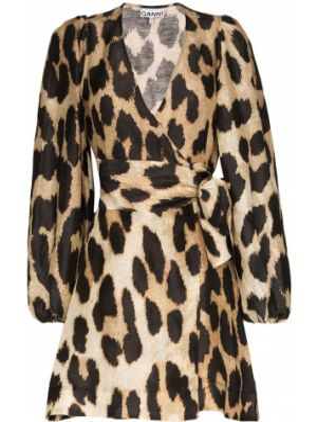 Платье мини с запахом леопардовое Ganni