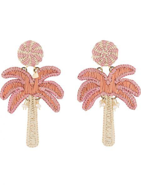 Różowe kolczyki sztyfty z haftem Mercedes Salazar