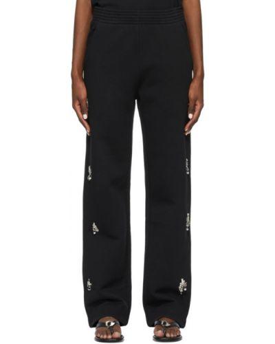 Czarne spodnie bawełniane z haftem Givenchy