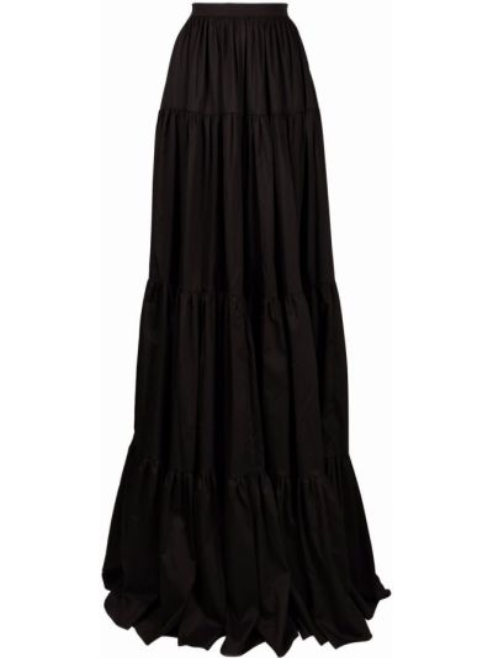 С завышенной талией черная юбка макси David Koma