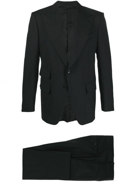 Jednorzędowy wełniany czarny spodni garnitur Tom Ford