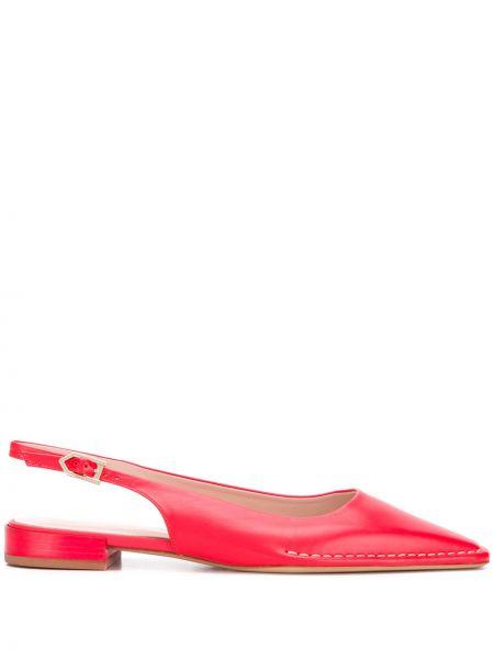 Туфли на каблуке кожаные без каблука Tods
