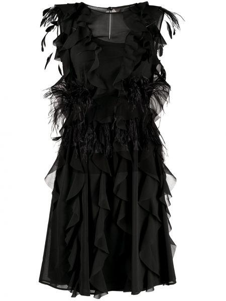 Шелковое черное платье трапеция Alberta Ferretti
