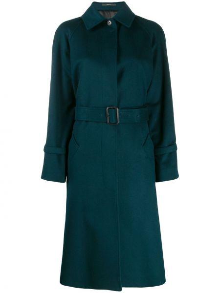 Однобортное синее пальто с поясом Paul Smith