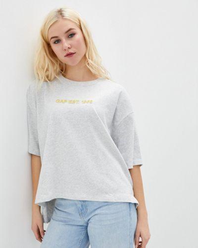 Серая с рукавами футболка Gap