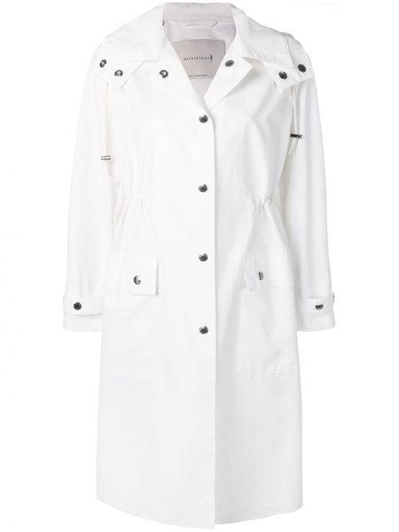 Белое длинное пальто с капюшоном металлическое Mackintosh