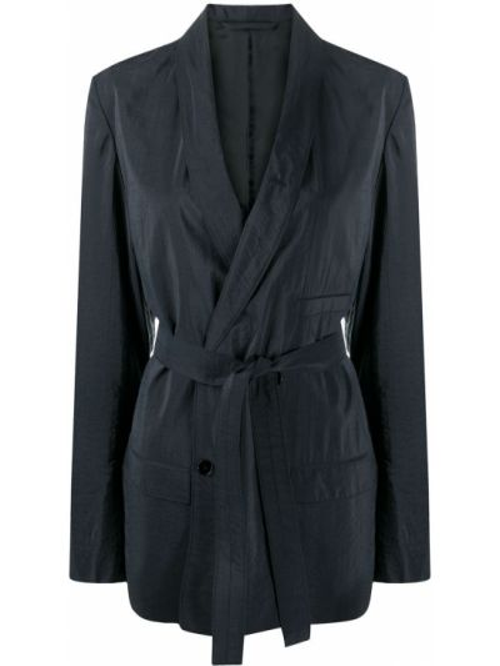 Синий классический пиджак двубортный с поясом Lemaire