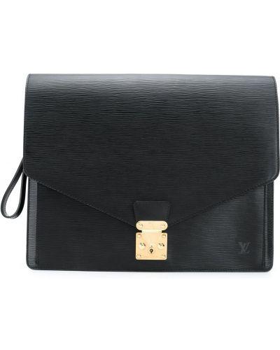 Черный кожаный портфель с карманами Louis Vuitton