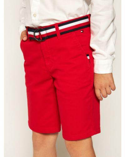 Czerwone szorty chinosy materiałowe Tommy Hilfiger