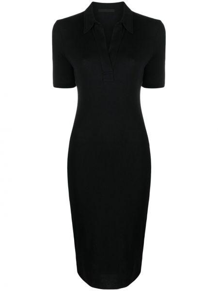 Czarna sukienka midi bawełniana krótki rękaw Helmut Lang